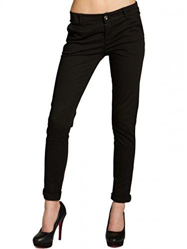 CASPAR KHS037 Damen Baumwoll Chino Hose Skinny Fit, Farbe:schwarz;Größe:40 L UK12 US10