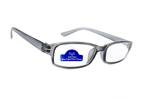 MFAZ Morefaz Ltd Slim Damen Herren Lesebrille +0.50 +0.75 +1.0 +1.5 +2.0 +2.5 Blue Light Filter Brille Blendschutz, Kratzfestes Objektiv Computer TV Anti Glare (2.00, Grey)