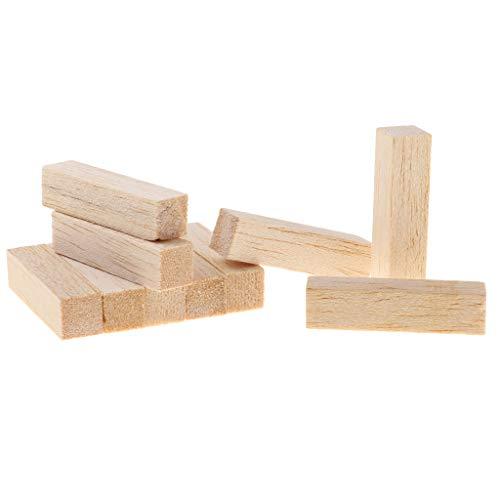 B Baosity 10 Stück Platz Balsaholz Blöcke Holzblöcke Puzzle Holzwürfel Bastelholz DIY Deko Holz zum basteln - Holz, 80 mm