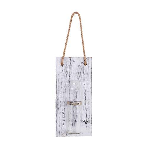 Hydroponische Glasvase im Mauer, Reagenzgläser für Blumen, Hängevase Reagenzglas mit Holzschild, Vintage Pflanze Dekorationen für Wohnzimmer Büro Party Hochzeit (Weiß) ()