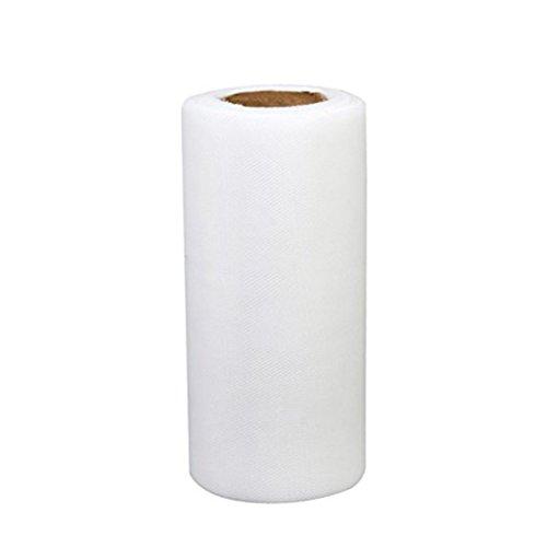 2m x 15cm Weißer Tüll Rolls Spool Tüll Stoff Rolle für Hochzeit Tisch Tutu Kleid Rock Dekorationen ()
