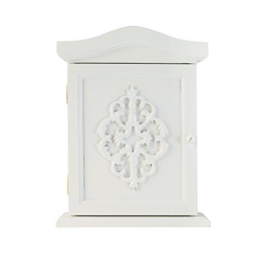 elbmöbel Schlüssel-Schrank mit Ornamenten und Tür in weiß antik aus Holz im Landhaus-Stil