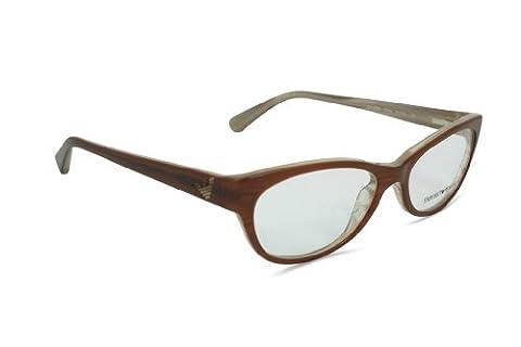 Emporio Armani Women's 3008 Brown / Variegated Cream Frame Plastic Eyeglasses, 51mm