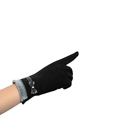 Ofen Bildschirm (Longra Damen berühren Bildschirm Winter warm Handgelenk Handschuhe Fäustlinge (Schwarz))