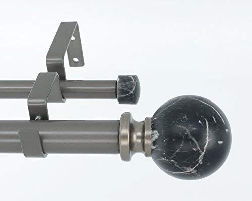 sser Double Window Behandlung Gardinenstange, Schwarz Marmor Kugel Krone 28