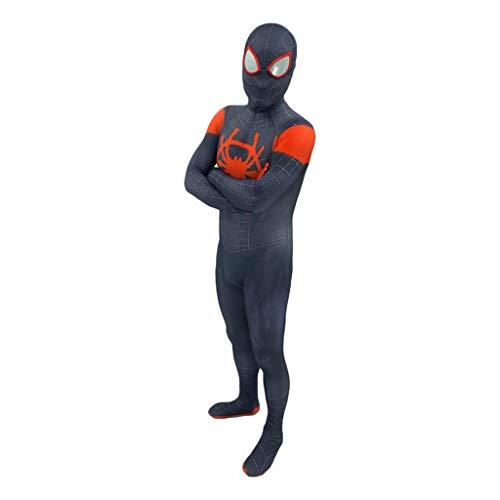 QWEASZER Mode Meilen Morales In Spinne Vers Cosplay Kostüm Spiderman Spider-Man Strumpfhosen Overall Body Suit mit abnehmbarer Maskenausstattung für Halloween, Weihnachten, Party,Miles Morales A-XXXL