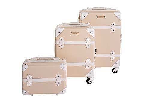 Enrico coveri moving set due trolley + beauty case da viaggio, valigie rigide abs in due dimensioni (beige)