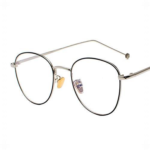 Easy Go Shopping Ultralight Retro Thin Metal Brillengestell Optische Brillen Brillen ohne Rezept. Sonnenbrillen und Flacher Spiegel (Farbe : Silver/Black)