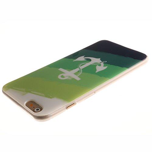 Pour Apple iPhone 5 5S 5SE Coque,Ecoway Housse étui en TPU Silicone Shell Housse Coque étui Case Cover Cuir Etui Housse de Protection Coque Étui Apple iPhone 5 5S 5SE –Black smiley ancre Blanc
