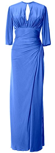 MACloth Women Half Sleeve Jersey Long Mother of Bride Dress Formal Evening Gown Blau