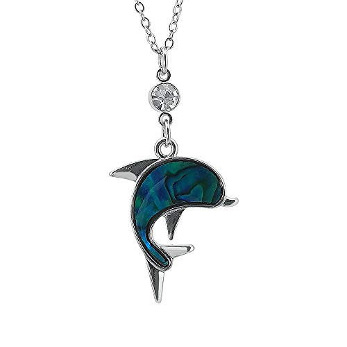 Unsere Sind Kostüm Kulturen Nicht - Kiara Jewellery Halskette mit Delfin-Anhänger, mit grünem Paua-Abalone-Muschel und Glasstein auf 45,7 cm langer Kette Silberfarbene rhodinierte Oberfläche.