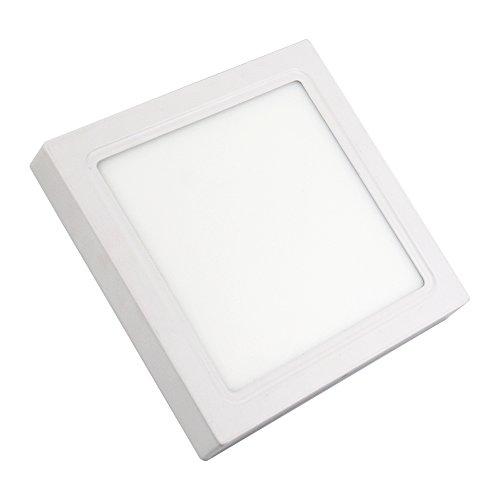 IberiaLux LED downlight de superficie, LED plafón de superficie, Cuadrado Blanco 18W 6000K, 4000K, 3000K (Luz fría 6000K)