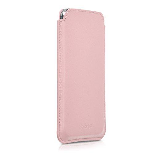 kalibri Leder Tasche Hülle für Smartphones Größe L - z.B. geeignet für Samsung Galaxy A5 (2015) - Handy Case Cover Echtleder Schutzhülle in Rosa