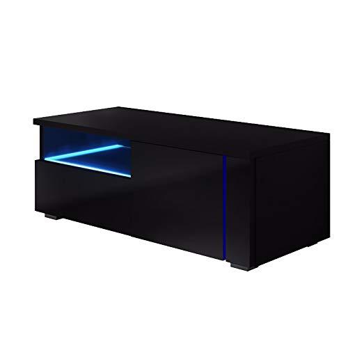 Selsey Oxy Single - Meuble TV avec éclairage LED 100cm , Noir