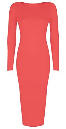 Womens Ladies Celebrity Inspired Long Sleeve Plain Bodycon Midi Calf Length Dress -Size 8-26