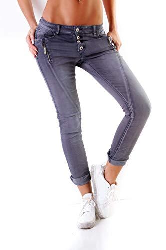 Lexxury Fashion4Young Damen Jeans Röhrenjeans Haremshose Damenjeans Baggy Boyfriend Knöpfe (stahlblau, XS/34) -