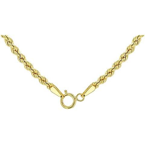 Oro giallo 18kt/750cordoncino catena 2.50mm–Lunghezza a