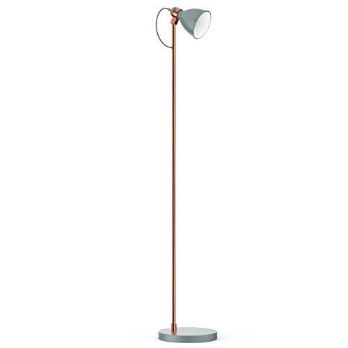 W Leselicht Stehlampe (tomons moderne Stehlampe Metall, minimalistische Leselampe für das Arbeitszimmer, das Wohnzimmer und viele andere Räume, verstellbarer Lampenschirm, 140 cm Höhe – FL1004)