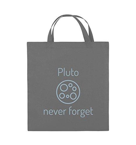 Comedy Bags - Pluto never forget - Jutebeutel - kurze Henkel - 38x42cm - Farbe: Schwarz / Pink Dunkelgrau / Eisblau