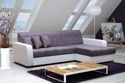 Canapé d'angle convertible DAKAR, avec coffre de rangement, coloris gris Angle à droite (Comme la photo)