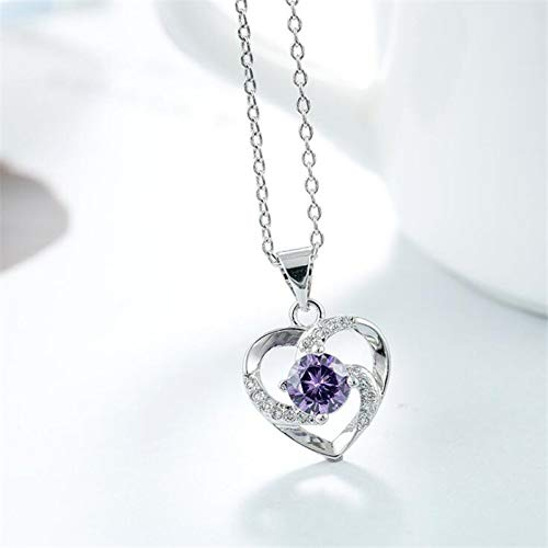 Kswlkj Style National Cristal Pourpre Forme de Coeur en Argent Sterling 925 Bijoux Mode Amour...