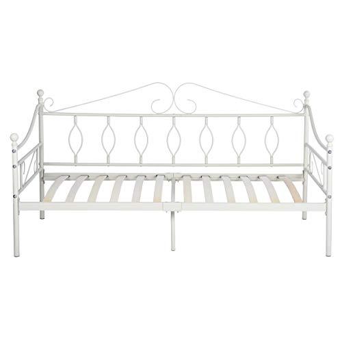 Aingoo lettino per letto in metallo con doghe in legno letto per un giorno con gambe e testiera per una crema materasso 90 * 190 cm bianco avorio bianco