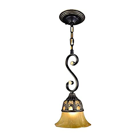 Classic Elegant Pendant Light Iron Chandelier 1 Light Yellow Glass Lampshade Ceiling Lamp