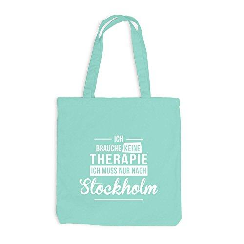 Jutebeutel - Ich Brauche Keine Therapie Stockholm - Therapy Urlaub Schweden Mint