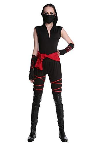 AniKigu Schwarz Ninja Assassin Samurai Kostüm mit Maske Damen Karneval Fasching Halloween Verkleidung Rollenspie Cosplay Jumpsuit