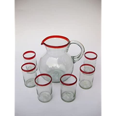 Mexican Blown Glass Pitcher and 6 Drinking Glasses Ruby Red Rim by MEXHANDCRAFT