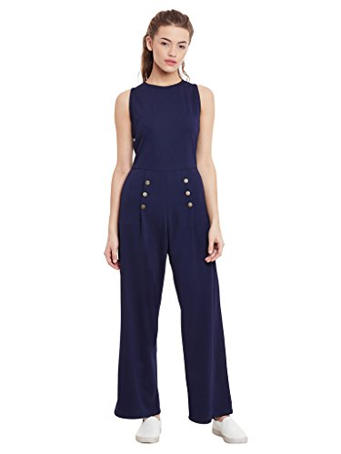 Miss Chase Women's Navy Blue Round Neck Sleeveless Solid Pleated Jumpsuit