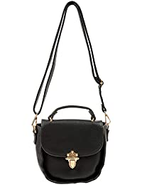 Olive N Peach Women's Synthetic Leather Sling Bag Black OnP09
