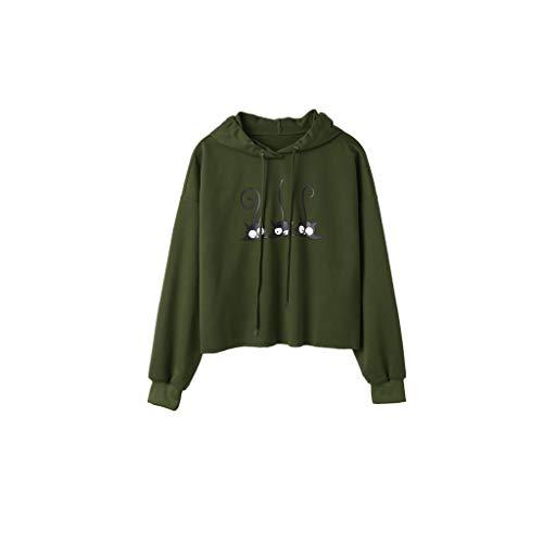 SSUPLYMY Pullover Damen, DruckenKapuzenpullover Kapuzenjacke Hoodie Pullover Katzenmuster Einfarbige Langarm Hoodie Sweatshirt Jumper Tops Bluse Casual Sport Shirt -