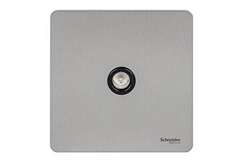 schneider-electric-placa-con-conector-coaxial-sin-tornillos-acero-acabado-metlico-borde-de-color-neg