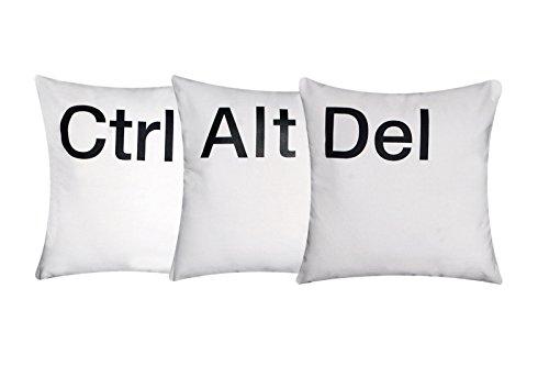 """""""Ctrl-Alt-Del-Esc 'Kissenbezüge Kissen 16"""" x 16 """"Weiß Chenille Baumwolle mit schwarzen Buchstaben für Schlafsofa (Set von 3)"""