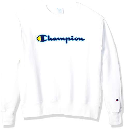 Champion Life Herren Reverse Weave Sweatshirt, Chenille Script/White, X-Klein -