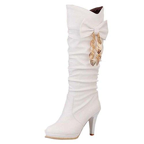 Solshine Damen Schleife Falten Plateau Hoher Absatz Langschaft Stiefel Boots Größe 35-43