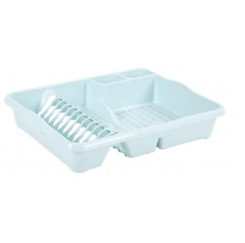 Wham High Grade Plastic Dish Drainer Plate and Cutlery Rack Tidy Holder Organizer/Organiser (Large, Duck Egg Blue)