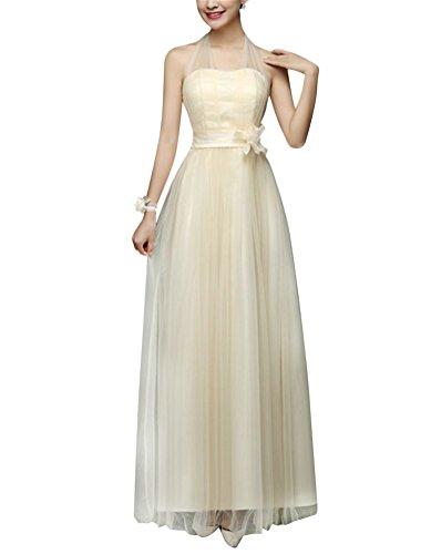 Brinny Damen elegant Hochzeitskleid Brautjunferkleid Bandeau Tüll dünn A-linie Langes Kleid Partykleid Blumenschmuck Eine Vielzahl von style Champagne