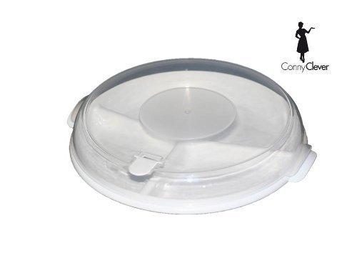 1 Mikrowellen Teller mit Haube und Entlüftung Farbe weiss + Tellerständer somit können Sie 2 Menüteller auf einmal nutzen von Conny Clever® (Weiße Mikrowelle Farbe)