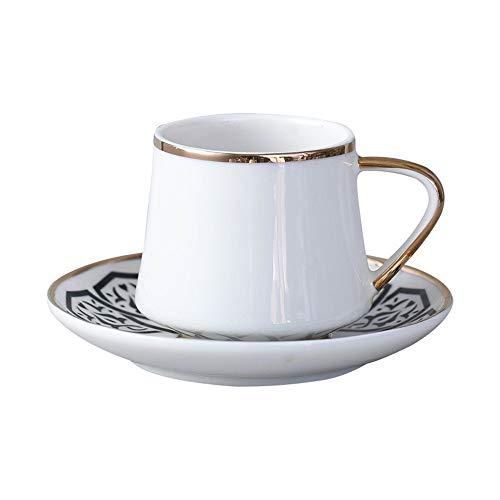Cotangle Keramische Kaffeetasse mit Untertassen Tee Tassen und Untertassen mit Gold Trim Bone China Porzellan Tee-Set, Tee-Sets für Frauen, Latte Cups (Farbe : Weiß, Größe : Einheitsgröße) Bone China Gold Trim