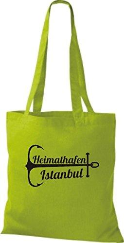 ShirtInStyle Stoffbeutel Baumwolltasche Heimathafen Istanbul limegreen