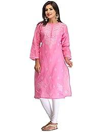 23c3b0a7b7 ADA Lucknow Chikankari Handcrafted Regular Wear Cotton Kurti Kurta A133537