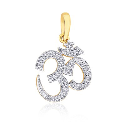 Peora Valentine Sterling Silver 18 Karat Gold Plated Cubic Zircon Divine Religious Spiritual OM Pendant OMG