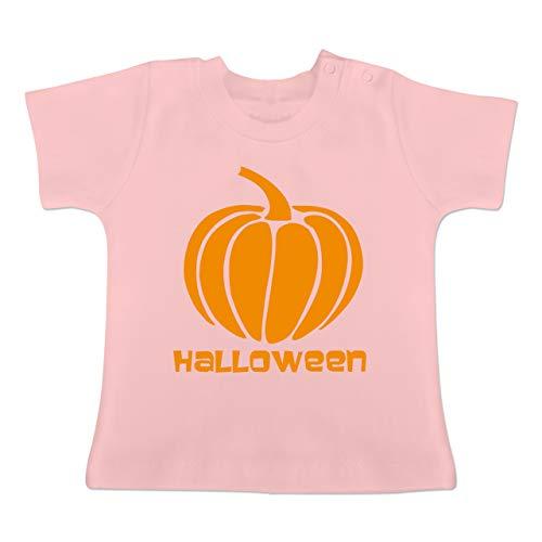 Anlässe Baby - Kürbis - 1-3 Monate - Babyrosa - BZ02 - Baby T-Shirt Kurzarm (Halloween-kostüm-ideen Für 6 Monat Alt)