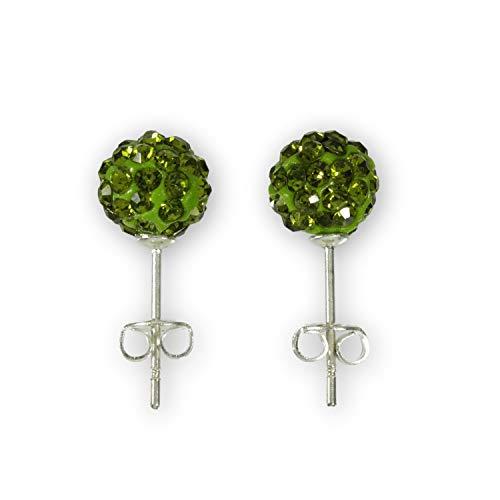 Ohrstecker 925 Sterling Silber - Glitzer Kugel 8 mm - Perle -Disko Crystal Kristall Ohrring - grün