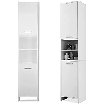 250mm Wide Tall Bathroom Cabinet Manila Gloss White 250mm Wide X 300mm Deep Cupboard Unit