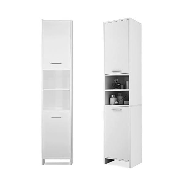 Deuba Armario de baño alto blanco mueble de almacenamiento con 2 puertas 2 estantes 185x30x30 cm almacenaje toallas
