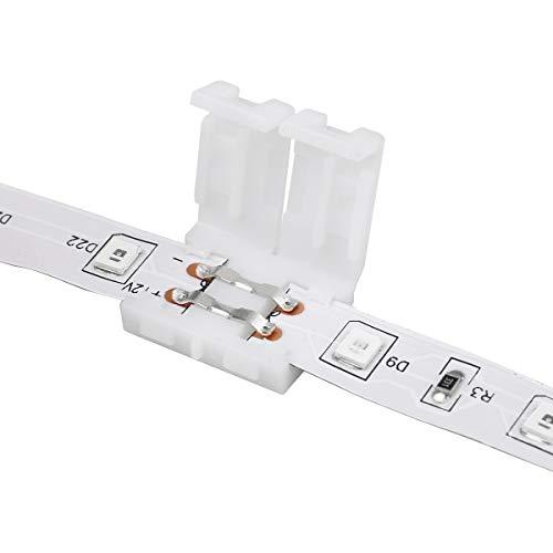 LE 2 Stück Adapterkabel + 2 Stück 2-Pin Anschluss für 3528 einfarbige LED Streifen, 8mm Breite Verbinder für Streifen zu Streifen, Verbindungskabel Zwischen Adapter und LED Streifen