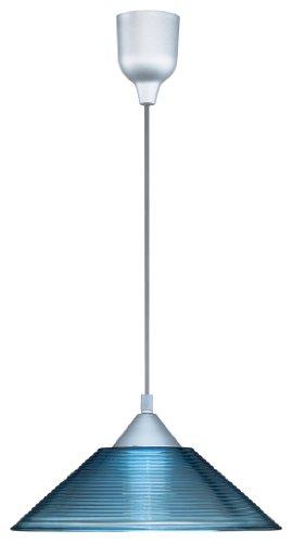 Blau-transparent Lampe (Trio Leuchten Pendelleuchte mit Riefenglas in blau-transparent, exklusive 1 x E27 max. 60 W, ø 30 cm, Länge 125 cm 301400112)